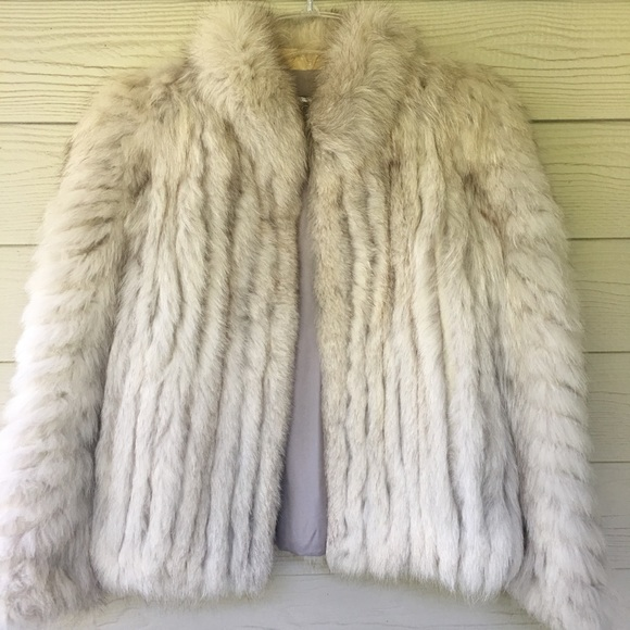Saga Furs Jackets & Blazers - Saga Fox Womens Genuine Blue Fox Fur Jacket Size M